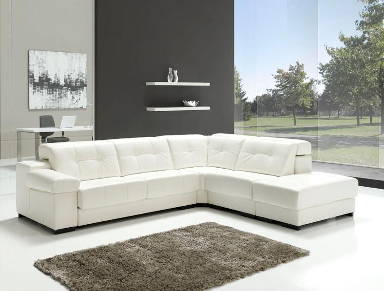 Sofa piel blanco tienda de muebles monz n en calanda for Sofas de piel con cheslong