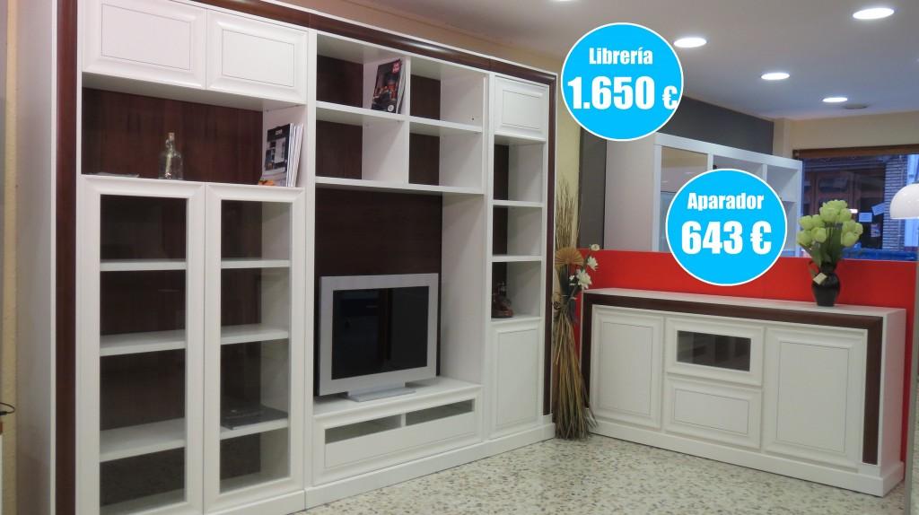 Conjunto de librería y aparador para salón o comedor